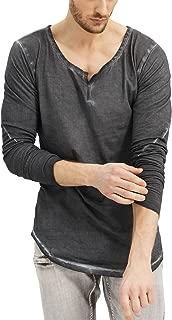 trueprodigy Casual Hombre Marca Camiseta Manga Larga Basico Ropa Retro Vintage Rock Vestir Moda Cuello Redondo Manga Larga Slim fit Designer Cool Urban Fashion Shirt Color Gris 1063105-0403