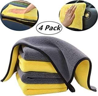 CHARS Ultra Thick Plush Microfiber Towels, 4 Pack Premium Microfiber Towels, Professional Double Layer Super Thick Microfiber Cleaning Cloth for Car Wash Buffing Wax Polishing and Drying 16'' x 16''