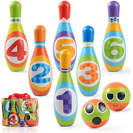 Set da Bowling con 10 Birilli e 2 Palle Ulikey Birilli Bambini Bowling Giochi e Giocattoli Educativi Giochi da Spiaggia Esterno Regalo per Bambino 3 4 5 Anni 10 Birilli, 2 Palle