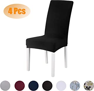 SARAFLORA Dining Chair Covers Stretch Removable Washable Chair Slipcovers Set of 4 Seat Protectors for Wedding Ceremony Party Hotel Living Room, Black