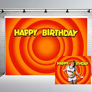PHMOJEN 10x7ft Looney Carrot Circle Backdrop for Children Tunes Theme Birthday Party Banner Photo Shoot Props Background LYPH1318