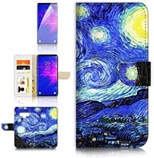 (for Samsung Note 9, Galaxy Note 9) Flip Wallet Case Cover & Screen Protector Bundle - A0066 Van Gogh Starry Night