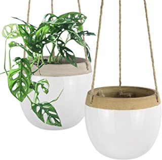 Ceramic Hanging Planters Plant Pots - 5.5 Inch White Indoor Hanging Pots Modern Plant Holder with Jute Rope for Succulents...