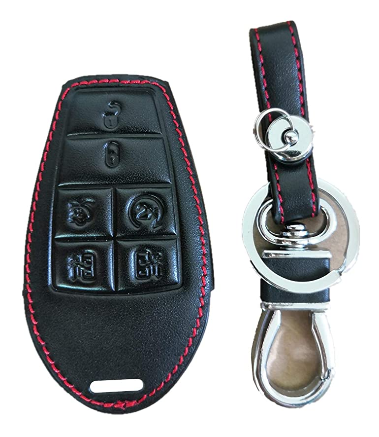 KAWIHEN Keyless Entry Key Fob Leather Cover For Chrysler 300 T&C Dodge Challenger Charger Durango Grand Caravan Journey Ram 1500-4500 Magnum Jeep Grand Cherokee Commander M3N5WY783X 2701A-C01C IYZ-C01
