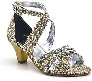 81f448cb23415 Sarıkaya Taşlı Altın Rengi Topuklu Kız Çocuk Abiye Ayakkabı