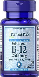 Puritan's Pride Vitamin B-12 2500 mcg Sublingual with Folic Acid, Vitamin B-6 and Biotin-60 Microlozenges