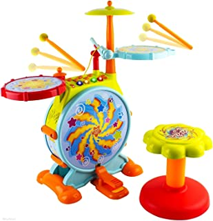 WolVol Electric Big Toy Drum Set for Kids with Movable Working Microphone to Sing and a..