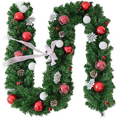 GYZ Navidad del Copo de Nieve de la Puerta Rota Que cuelga del Arco DIY Escena Colgante Disposición de la Ventana de Navidad del Ornamento de la Guirnalda, 2.7m (Color : A):