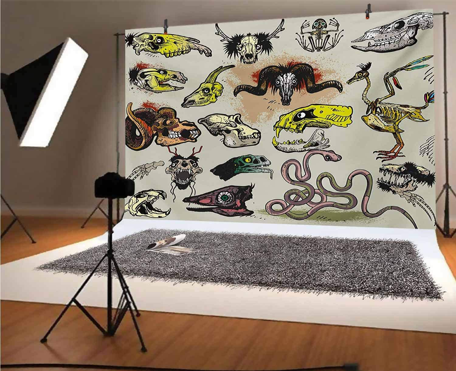 Modern 15x10 FT Vinyl Backdrop PhotographersAnimal Skeleton Icons Composition with Gothic Faces Dead Creatures Illustration Background for Party Home Decor Outdoorsy Theme Shoot Props