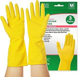 دستکش های ظرفشویی قابل استفاده مجدد 3 جفت ، دستکش های لاستیکی تمیز کننده برای تمیز کردن آشپزخانه ، کار ، نقاشی ، باغبانی