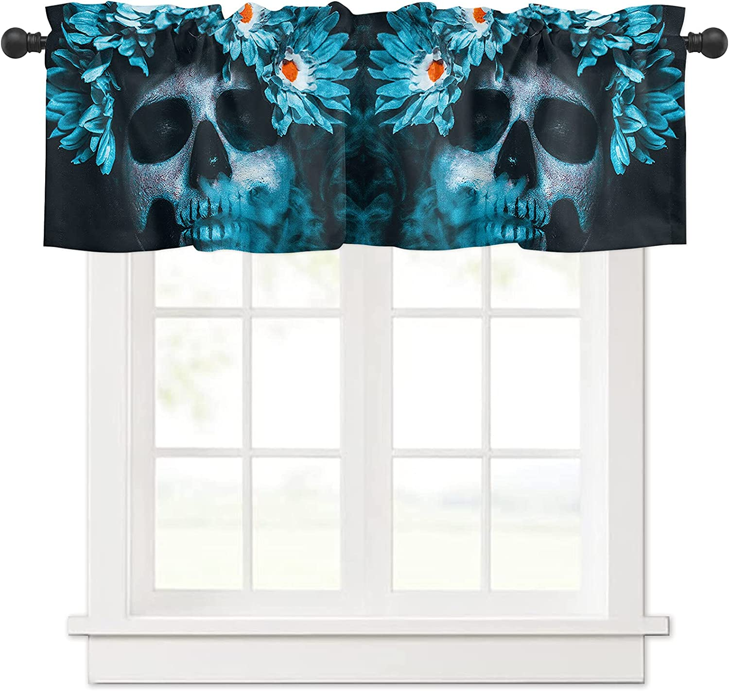 Ranking integrated 1st place Mexican Festival Blue Daisy and for Skull Curtain Valances Windo Max 47% OFF