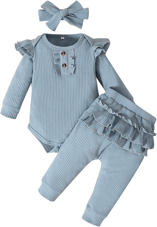 Danna Belle Newborn Baby Girls Fall Ruffle Sleeve Romper Pant Set Outfits 0-24M