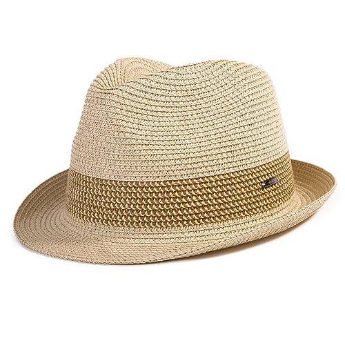 af89fc5ba31 SiggiHat Panama Summer Fedora Trilby Straw Sun Hats For Men Safari Beach Hat  - Foldable