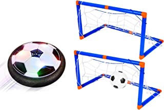 M SANMERSEN Hover Soccer Ball Set with 2 Goal kids toys Hover Soccer Ball Indoor and Outdoor Led Lights Air Bower Training Ball Girls & Boys Toys for 3, 4,5,6,7,8-16 Year Old, Blue