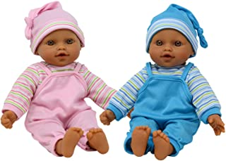 "The New York Doll Collection 12"" Sweet Hispanic Twin Dolls Play Baby Dolls - Doll Pacifier Included"