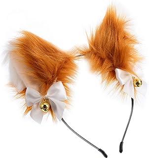 Beaupretty Tiara de orelhas de raposa com sinos de anime, de pele sintética, para cabelo, de pelúcia, para cosplay, para c...