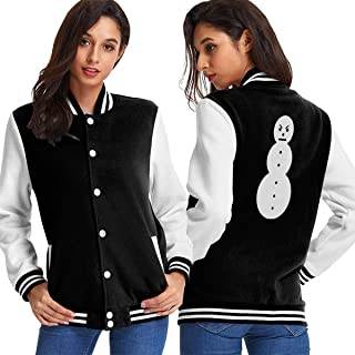 Jeezy Snowman Cotton Woman's Girls Classic Baseball Uniform Brushed Keep Warm Jackets