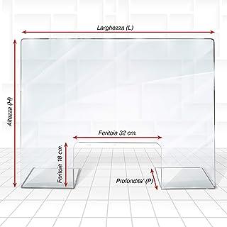 Parafiato plexiglass 120 x 70 CM Barriera di protezione 5mm schermo con passa soldi documenti per sicurezza parasputi schermi protettivi per attivit/à commerciali ufficio bar reception Foro 35 X 16 cm