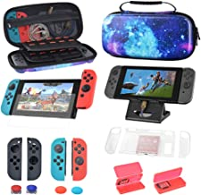 Carry Case for Nintendo Switch with 40 Game Cartridge Holders, Silicone Handle Set Red & Grey, Tempered Film, Host Bracket, Protective Hard Shell Portable Console & Accessories Starry Sky Design