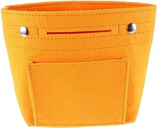 Cabilock Portable Felt Fabric Bag Organizer Soft Cosmetic Insert Organizer Multi-Pockets Purse Handbag Tote Bag Liner Shaper Inside (Size S, Orange)