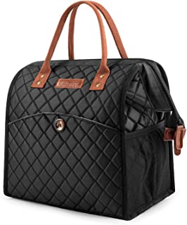 Lunch bags Women Lunch Tote Bag Water-resistant Lunch Box Insulated Leak Proof Liner Lunch Bag Cooler Bag With Wide Opening for Women/Office/Work/Park/Picnic,Black