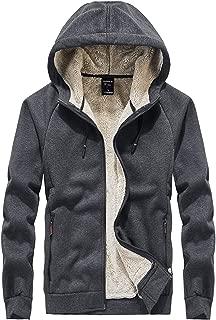 Men's Winter Thicken Fleece Sherpa Lined Hoodie Sweatshirt Jacket Parka with Zipper Pockets