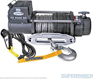 Amazon Com Superwinch 1595201 Tiger Shark 12v Winch With Aluminum Hawse And Synthetic Rope 9500 Lb Load Capacity Automotive