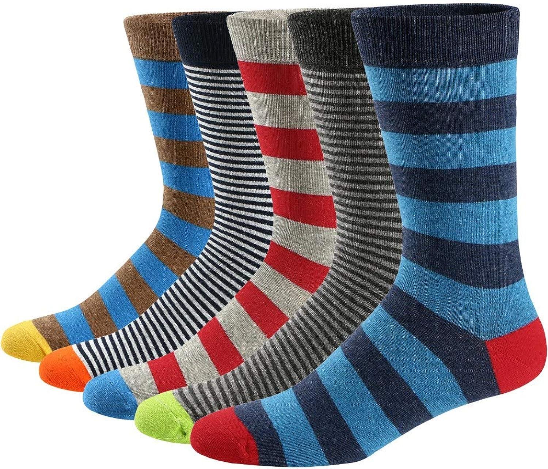 Hyf Socks Socks 5 Pairs Of Men'S Casual colorful Striped Pattern Socks