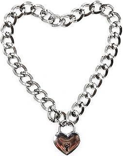Aaijia Metal Necklace Heart Shaped Lock Choker Unisex Necklace Cosplay Stage Props for Men Women Girls (Key 1 pcs)