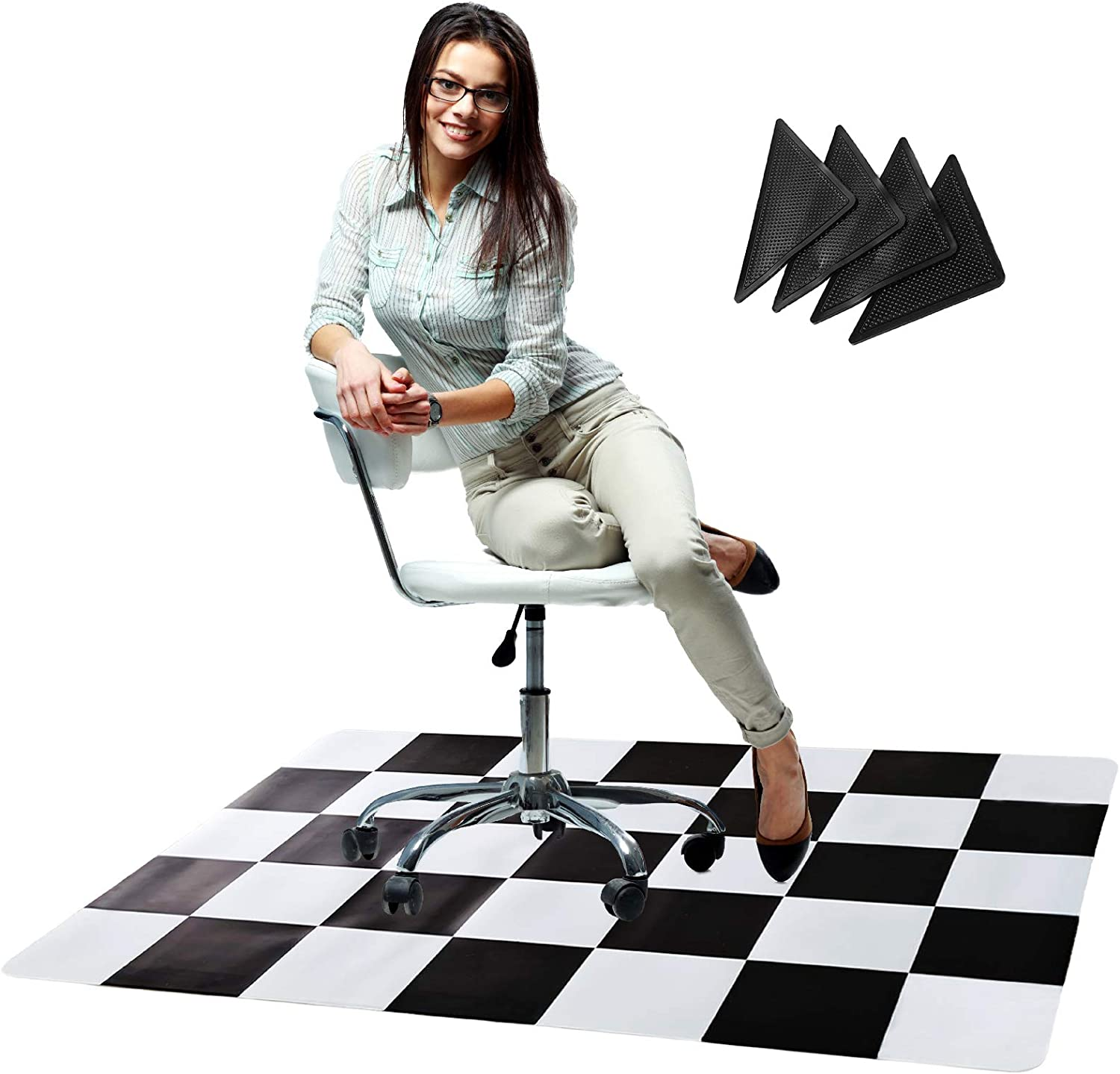 Office Chair Mat Direct sale of manufacturer with Anti for mart Curling Grippers Hard -