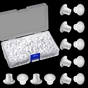 5 Millimetres Plastic Hole Plugs 3/16 Inches Round Button Plugs Screw Cap Drilling Cover Plugs for Cabinet Cupboard Shelves (White,300 Pieces)