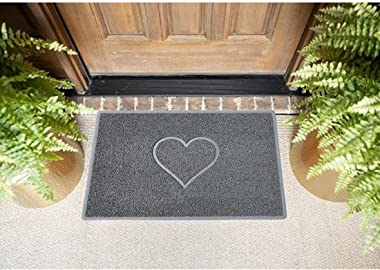 Nicoman Embossed Halfmoon Half Circle Door Mat Dirt-Trapper Jet-Washable Doormat 70x44cm (Brown, Home Smiley FACE Shape) - Us
