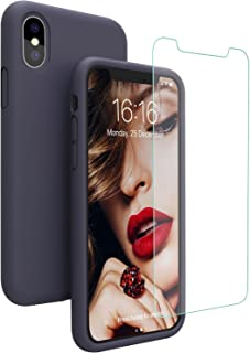 Compatible with iPhone Xs/X Case, iPhone 10 Case, JASBON Liquid Silicone Phone Case with Free Screen Protector Gel Rubber Shockproof Cover Full Protective Case for Apple iPhone Xs/X-Dark Blue