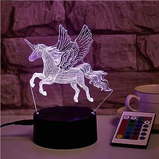 3D Ilusión óptica luz nocturna, unicornio 3D ilusión óptica LED, lámpara de ilusión 3D, 16 colores cambiantes con mando a distancia, regalo ideal para la familia de amigos de los niños