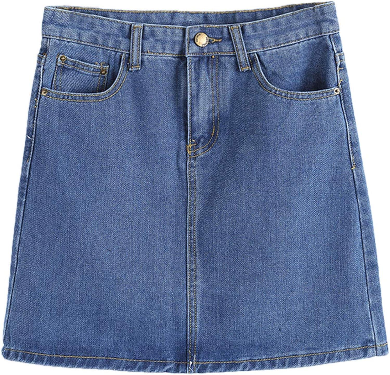 PERSUN Women's Casual Jean Pocket Zip Front Plain A-Line Mini Skirt