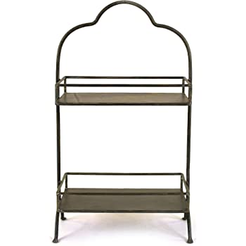 "Creative Co-op Decorative Metal Two Tier Tray with Handle, 10.6"" L x 5.9"" W x 17.9"" H"