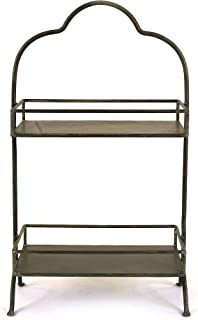 Creative Co-op Decorative Metal Two Tier Tray with Handle, 10.6