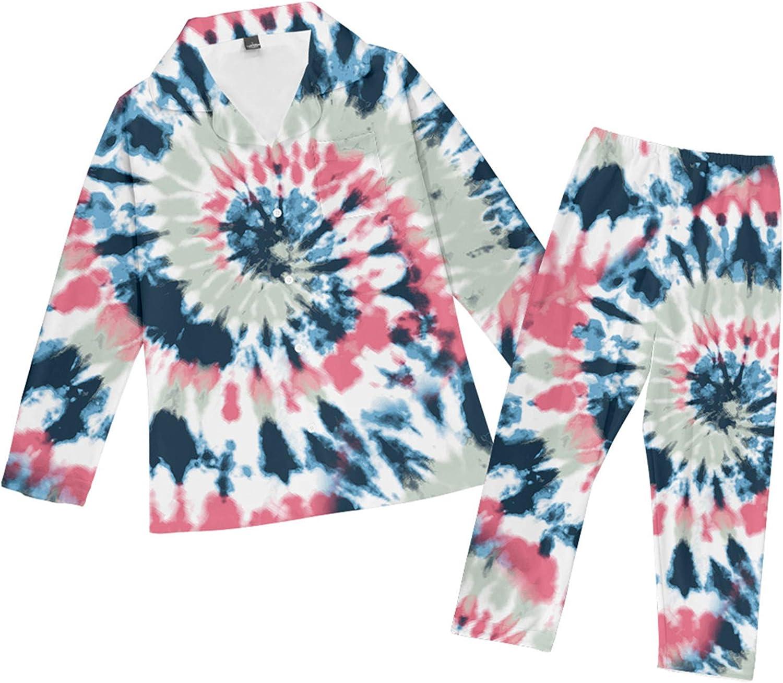 SIAOMA Tie Dye Sleepwear Gaxaly Pajama Sets Button Down Nightwear Soft Loungewear