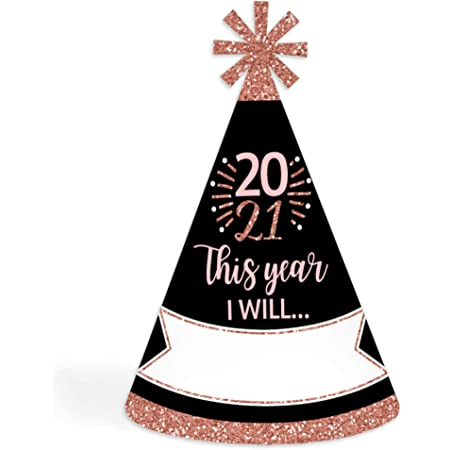 Big Dot of Happiness Rose Gold Happy New Year - Cone 2021 New Year's Eve Party Resolution Party Hats for Kids and Adults - Set of 8 (Standard Size)