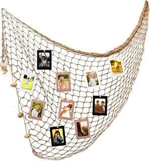Decorative Fishing Net Wall Decor With Paper Photo Frames 4x6in 30pcs Wooden Clamps And 12pcs Pins for Photo Display Wall DIY Decoration