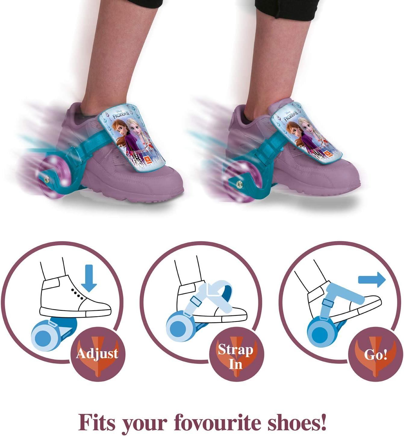 Led Light Ruote LED 28623 Frozen II Clip-On Skate Mondo Toys Rotelle da Scarpa rulli a Due Ruote per i Tuoi Tacchi Misura Regolabile Portata fino a 50 Kg
