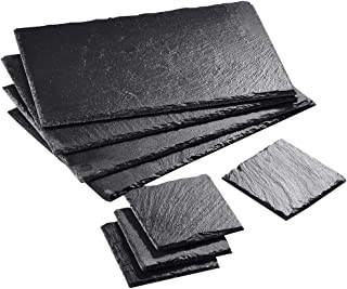 Malacasa Slate Cheese Plates, Gourmet Serving Platter Natural Slate Placemat and Coaster Set for 4 People