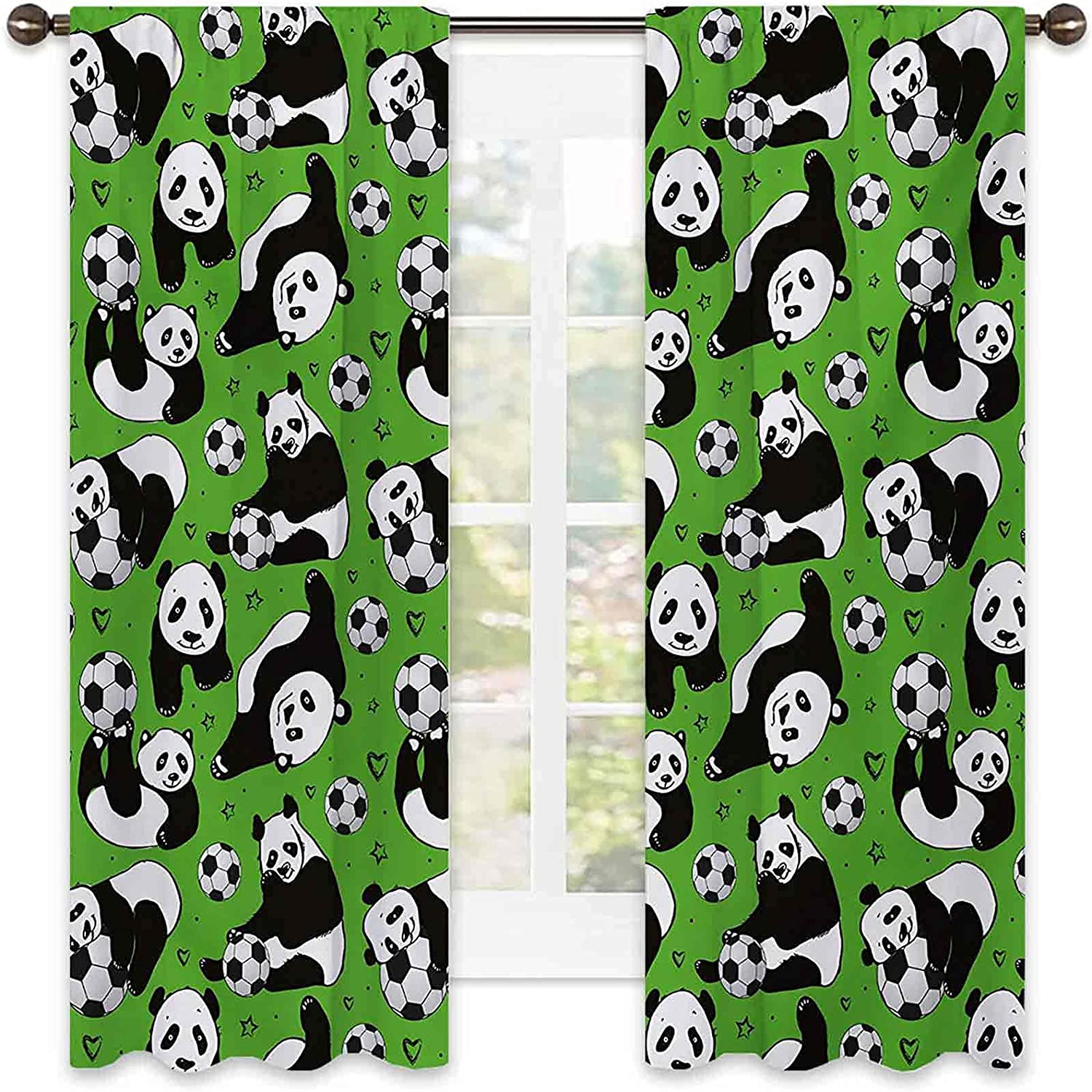Soccer Super Special SALE held Heat Insulation Curtain Funny with Playing Panda Animals Safety and trust