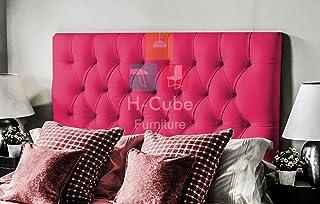 H-Cube Meble sztuczna skóra Divan podstawa łóżka zagłówek dopasowanie/guziki diamentowe 110 cm seria montowana na ścianie...