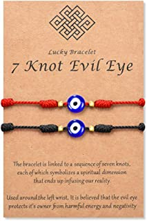 Tarsus Evil Eye 7 Knot Lucky Bracelets Adjustable Red String Amulet for Women Men Kids and Baby