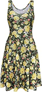 Tom's Ware Womens Casual Fit and Flare Floral Sleeveless Dress