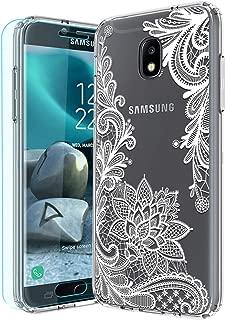 Galaxy J7 2018 Case,Galaxy J7 Aero/J7 Top/J7 Aura/J7 Crown with HD Screen Protector Huness TPU Grip Bumper and Clear Flower Transparent PC Backplate Slim Phone Case for Samsung J7 Refine (Flower)