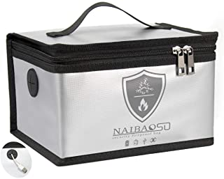 NAIBAOSD Fire-Proof and Explosion-Proof Bag LIPO Battery Safety Storage Bag, Fireproof Bag for Valuable Electronic Product...