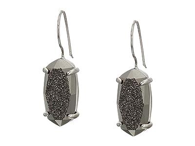 Kendra Scott Harrison Drop Earrings (Rhodium Platinum Drusy) Earring