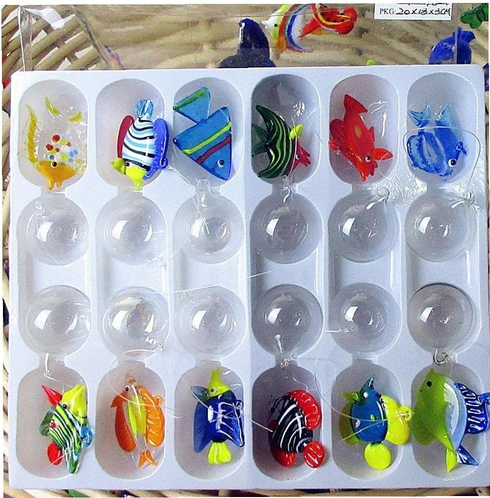12pcs Floating Glass Fish Figurine Aquarium Hand Blown Glass Fish with 12pcs Glass Ball Miniature Fish Tank Ornaments Pendant
